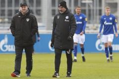 Testspiel FC Schalke 04 -  Preußen Münster 18.01.2020 Foto: S. Sanders  Trainer Sascha Hildmann (Münster), Trainer David Wagner (Schalke 04)