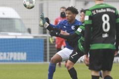 Testspiel FC Schalke 04 -  Preußen Münster 18.01.2020 Foto: S. Sanders  Jean-Clair Todibo, Seref Özcan (Münster)