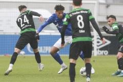 Testspiel FC Schalke 04 -  Preußen Münster 18.01.2020 Foto: S. Sanders  Luca Schnellbacher (Münster), Jean-Clair Todibo, Maurice Litka (Münster), Seref Özcan (Münster)